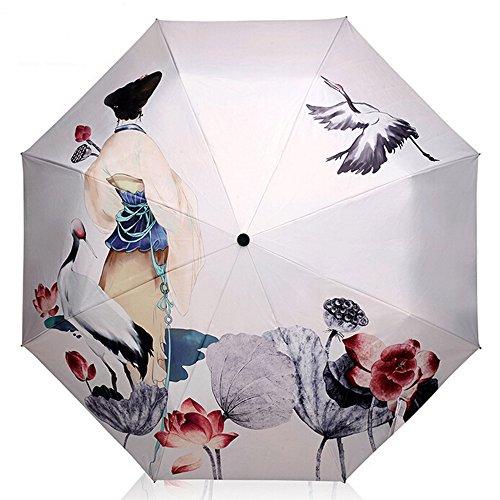 [해외]접는 우산 양산 청우 겸용 Vander 접는 우산 경량 여성 인기 고풍 도안 수동 uv 컷 100 암막 접는 우산 8 개의 뼈 직경 98cm 수납 케이스 (실버)/Folding Umbrella Sunrise Rain and Shade combined Vander folding umbrella light weight ladies po...