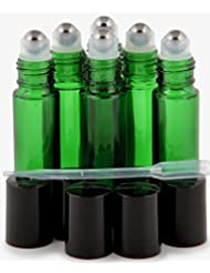 Vivaplex, 6, Green, 10 ml Glass Roll-on Bottles with Stainless Steel Roller Balls - .5 ml Dropper included [並行輸入品]