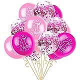 Eldori 15点セット 12  バルーン 結婚式 バレンタイン 飾り 誕生日 パーティー 飾り付け 吹雪入れ風船 セット おしゃれ ピンクゴールド フォトプロップス プロポーズ 記念日 お祝い 告白 バレンタイン応援 サプライズ 装飾 安い 飾りセット 吹雪入れ風船 Foil Latex Confetti Balloon Baby One Year Old Happy Birthday Party (B)