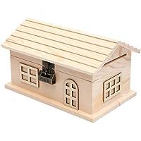 貯金箱 木製の貯金箱 - 創造小型貯金箱、コインボックスのアダルトグッズ、キッズルームの装飾お土産ギフト小さな家銀行 大…