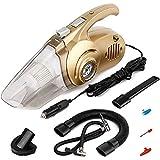 LED ライト付き車の掃除機 4 1 DC 12V 120W ウェットとドライポータブルハンドヘルドオート真空-14.8 フットパワーコード、タイヤ空気圧計、タイヤインフレーター、投光器 (ゴールド)