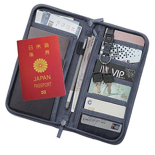 BEATON JAPAN トラベルウォレット パスポート パスポートケース トラベルバッグ パスポート入れ トラベルポーチ スタイリッシュ 13ポケット 収納 多機能 旅行グッズ 航空券 スマホ お金 整理 男女兼用 3カラー (グレー)