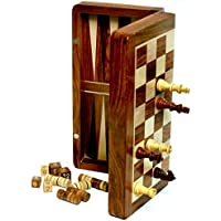 Best Chess 2 in 1 12 inches Wooden Backgammon and Chess Set with Pieces (Brown)