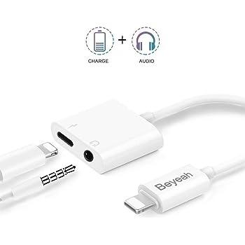 アップル純正品素材やチップを採用 Beyeah iPhone Lightning - 3.5mm イヤホン 変換アダプタ イヤホンジャック 2in1変換ケーブル iPhone イヤホン 変換 アダプタ 音楽再生機能 3.5mmヘッドホン急速充電二股接続ケーブル iPhoneXs/Xs max/Xr/8/8plus/7/7plus(IOS11、12対応)