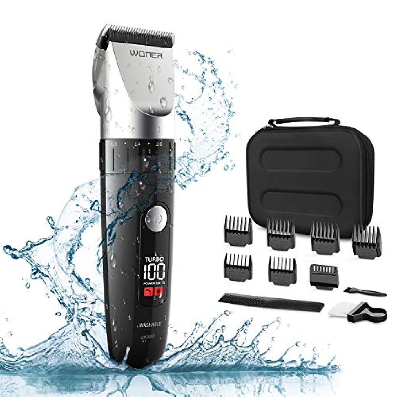 WONER 電動バリカン IPX7防水 ヘアクリッパー 充電式 ばりかん LED 5段階調節可能 ヘアーカッター 家庭用?業務用