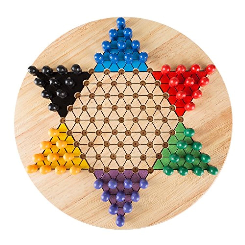 ダイヤモンドゲームセット 11インチ木製ボードと伝統的ペグ Hey! Play!大人、少年少女向けゲーム遊びましょう。