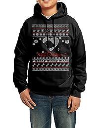 Dera Princess メリークリスマス ドッグロゴ プリント ボーイズ フード付き 長袖 スウェットパーカー 100% 綿 フーディー ジュニア ユース トレーナー ブラック 子供用 キッズ