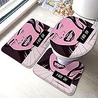 ファッションバスルームラグマットセット3ピース私は大丈夫です微笑んでいる女の子製Vaporwaveスタイルソフト滑り止め付きバッキングパッドバスマット+ U字型の輪郭のラグ+トイレ蓋カバー吸収剤