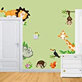 VineCrown Cute Animal Wall Sticker Jungle Wall Decal Art Mural Removable Wall Decor for Kids Nursery Bedroom Living Room (Seeing)