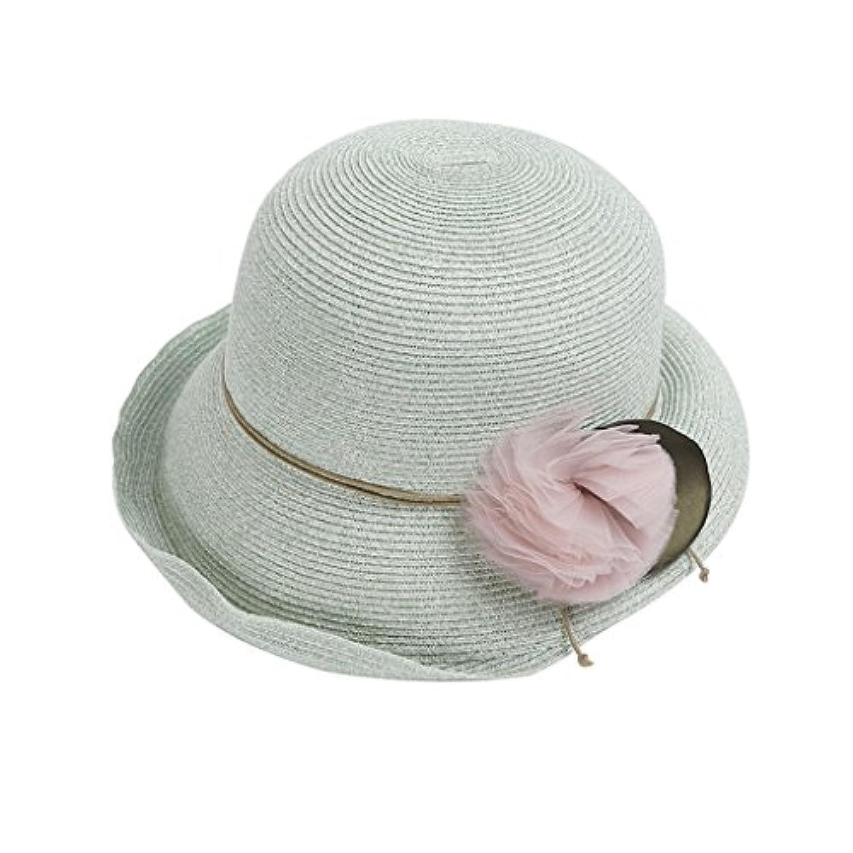 LIZHIQIANG 帽子Ms夏の麦わら帽子エレガントなサンプロテクションバイザークリンピングファッションSunhat (色 : Mint color)