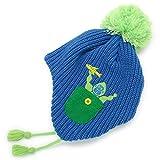 帽子 子供用 耳あて付き ニット帽 フリース BEADYGEM 日本製 キッズ Animalリブボンボン耳あて付きニット帽 青