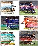リオネル・メッシ ポスターコレクション - サッカーウォールアートシリーズに登場するバルセロナとチームアルゼンチン大会の偉大なメンバー - 8×10インチの写真6枚セット