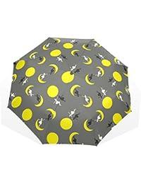 ユキオ(UKIO) 折りたたみ傘 レディース 晴雨兼用 高密度 遮光 手動 遮熱 飛び跳ね防止 梅雨対策 雨傘 日傘 軽量 防風 頑丈 月 仙女 収納ケース付