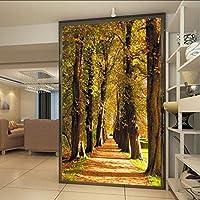Xbwy カスタム写真の壁紙美しいカエデの森ゴールデンパス3D入り口ホテルの廊下装飾的な背景の壁紙壁画-400X280Cm