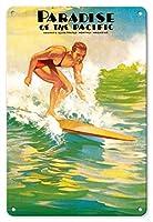 22cm x 30cmヴィンテージハワイアンティンサイン - 太平洋の楽園 - ハワイアン・サーフライダー - ハワイのイラスト月刊 - ビンテージなハワイの雑誌の表紙 c.1932