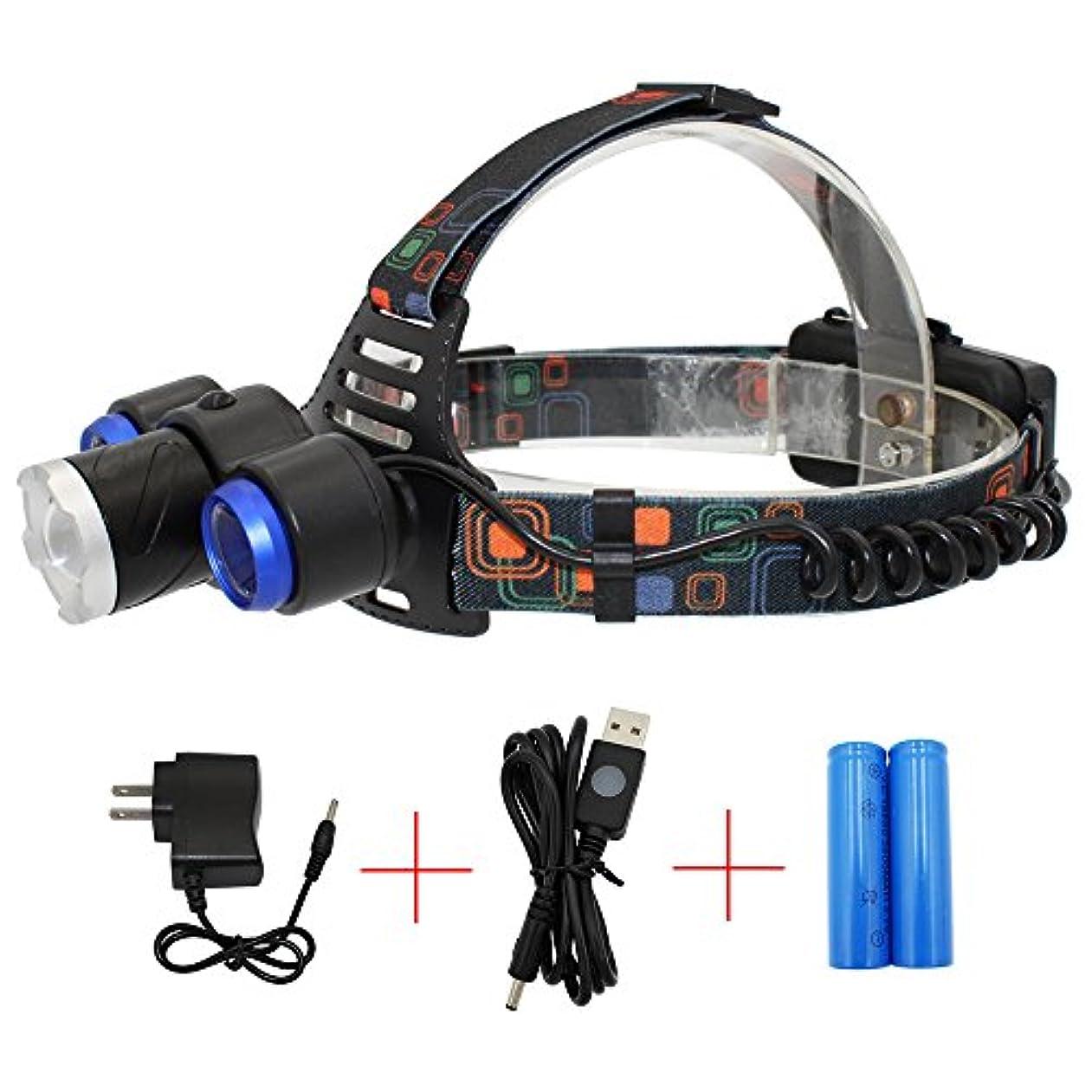 噴水ノベルティ読書をするKC Fireヘッドライト 1* XML-T6 + 2* XPE LED 高輝度 生活防水 4モード点灯 1600ルーメン 2*18650電池 ブラック&シルバー&ブルー
