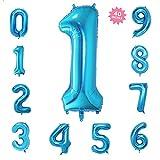 風船1数字パーティー誕生日結婚式飾り物アルミブルーバルーン40インチ超巨大(0-9)J001B