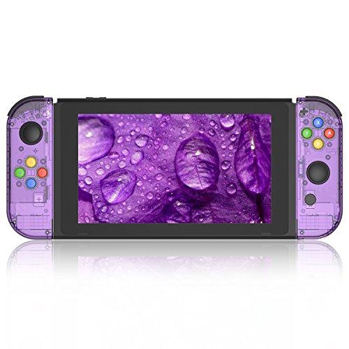 Myriann 任天堂 Nintendo Switch ニンテンドースイッチ+ジョイコンセット カラー置換ケース 代わりケース 外殻 ついに登場! (ジョイコン&スイッチ-透明感 パープル)