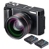 デジカメラ Aabeloy デジタルカメラ フルHD1080p 24MP 3.0インチスクリーン 予備バッテリーあり 広角レンズ搭載 カメラライト 日本語システムサポート 最大128GB対応