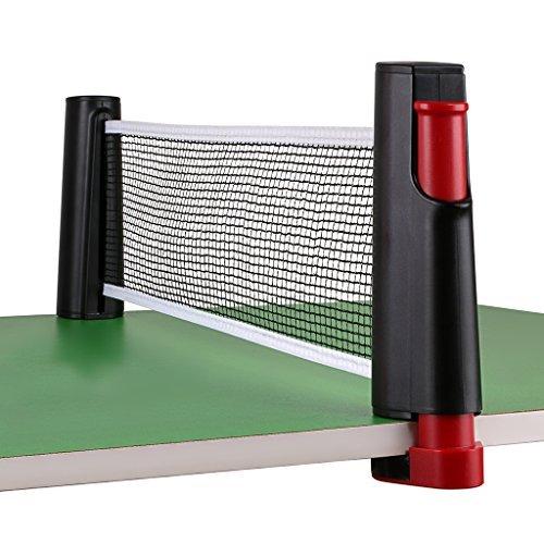 Sumnacon ポータブル卓球ネット 開閉式 卓球 収納袋付き (ブラック+レッド)