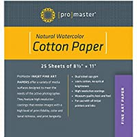 Promaster ファインアート インクジェット用紙 100%コットン ナチュラル水彩 8 1/2 x 11インチ 25枚
