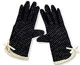 MiRii MeRii)ミリーメリー) UVカット 手袋 10種類 水玉 柄 清涼 + 指まで滑り止め (ブラック リボン レース 白)