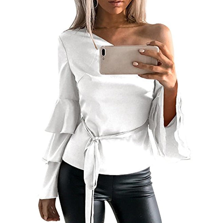 説明同一性見えるトップス レディース 夏 Kohore セクシー tシャツ レディース 長袖 シャツ 綿 ブラウス 白 オフィス 片肩出し フリル パフスリーブ おしゃれ 着痩せ s-ll 大きいサイズ 部屋着 シャツチュニック プレゼント
