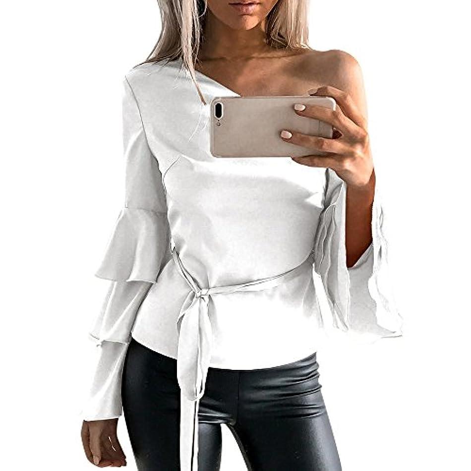 吸収する蒸留有名トップス レディース 夏 Kohore セクシー tシャツ レディース 長袖 シャツ 綿 ブラウス 白 オフィス 片肩出し フリル パフスリーブ おしゃれ 着痩せ s-ll 大きいサイズ 部屋着 シャツチュニック プレゼント