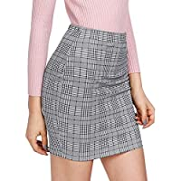 SheIn Women's Basic Stretch Plaid Mini Bodycon Pencil Skirt