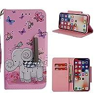 iPhone XS MAXのためのnincyee財布ケース、iPhone XS MAXのためのかわいいカラフルな象の花柄プレミアムレザーフリップケースカバー