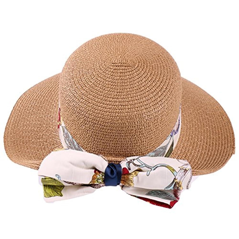 YXX- 釣りビーズUVプロテクションサマーサンバイザーキャップバケツ帽子アウトドア女性折りたたみ可能なワイドブリムビーチちょう結び麦わら帽子、調整可能なひも紐 (色 : D)
