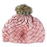 YideaHome秋冬帽子 オシャレ カープル 可愛い ニット ポンポン ウール帽子 防寒防風対策 子供 帽子 キッズ 男の子 女の子