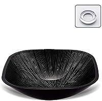 ポップアップドレインと取り付けリング黒と白のラインを備えたバスルームアーティスティックガラス容器シンクの上カウンター現代ガラスの洗面化粧台洗面ボウル,黒,C