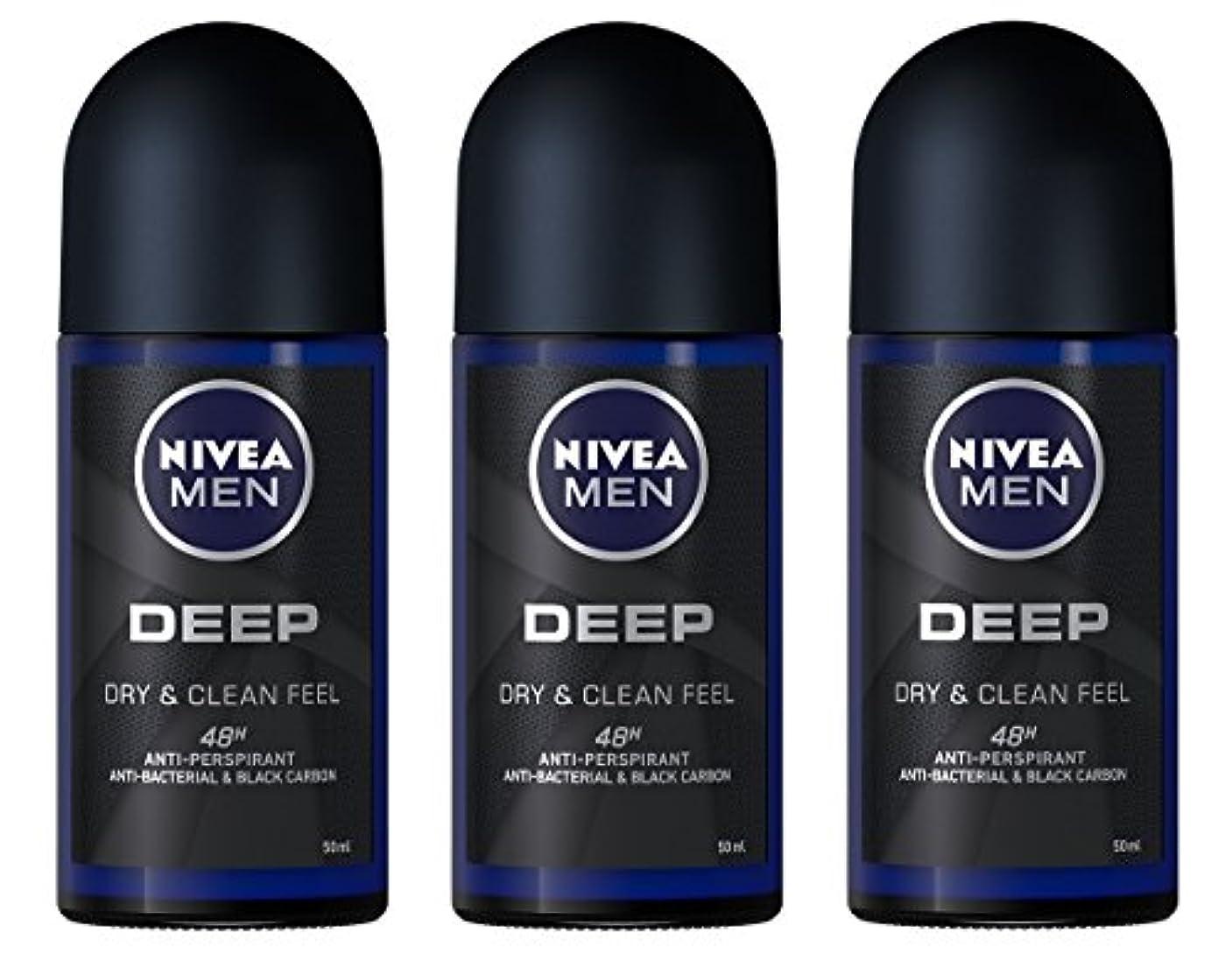 標準怪物縞模様の(Pack of 3) Nivea Deep Anti-perspirant Deodorant Roll On for Men 50ml - (3パック) ニベア深い制汗剤デオドラントロールオン男性用50ml