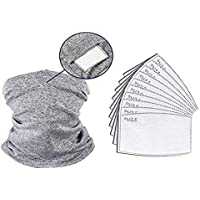QKWSUGER 1 Pack Neck Gaiter Scarf Stretchable Neckerchief With 10 Pack PM2.5 Activated Carbon Filter for adult Sun Dust Protection Bandana Summer Face Cover UV Protection Sunscreen Breathable Grey