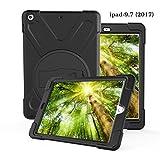 E&FASHION iPad 9.7 2017 ショルダーケースハードPCバックカバーとソフトTPU素材 、耐衝撃性、全面保護 耐衝撃 衝撃吸収 防塵 モデル ハイブリッド ケース 全12色 (ブラック)