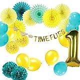Easy Joy赤ちゃんの1st誕生日装飾Time Flies誕生日ベビーシャワー夏ハワイアンルアウパーティー装飾ティッシュペーパーファン番号1バルーン、ラテックスバルーン、ティールブルーイエローすべて1つのパック