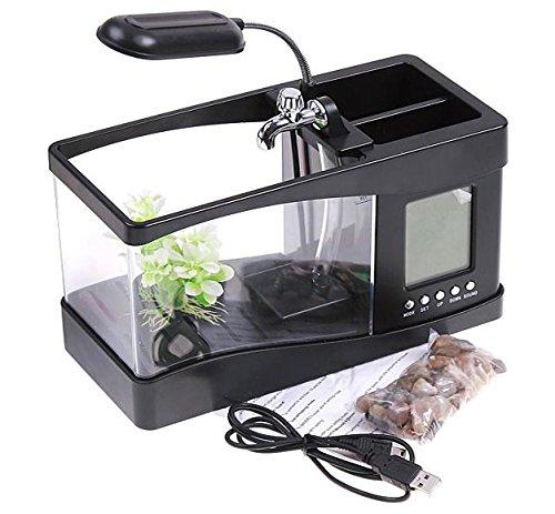 Minsell 卓上 ミニ 水族館 机の上で魚が飼える癒しアイテム 小物 サウンド 循環ポンプ 内蔵 ブラック USB LED 時計 クロック アラーム付き ライトアップ 加湿器 (ブラック)