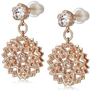 [サクラダイヤモンド] Sakura Diamond さくらACCESSORY SV925 シルバー キュービックジルコニア イヤリング ピンクゴールドメッキ 保証書付 PE-145P