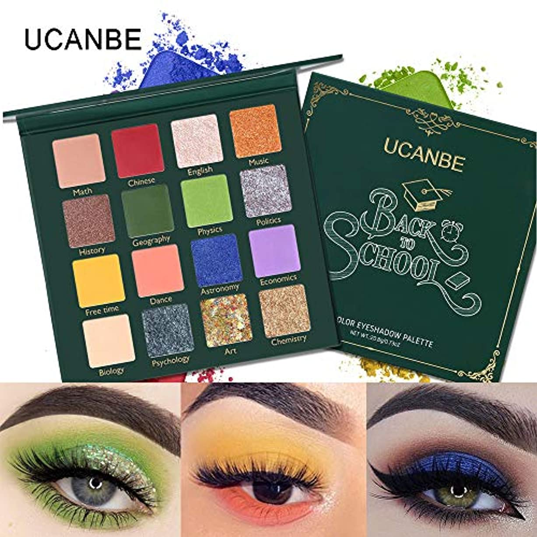 UCANBE 16色プレスキラキラシマーマットアイシャドウピグメント化粧品学校に戻るアイシャドウパレット緑の目のメイクプロのシマー自然グローアイシャドウメイクアップ