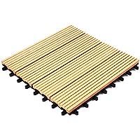 ウッドパネル ウッドタイル ウッドデッキ 人工木 27枚セット 樹脂 ベランダタイル ジョイントパネル 木製タイル (タイプB・ナチュラル)
