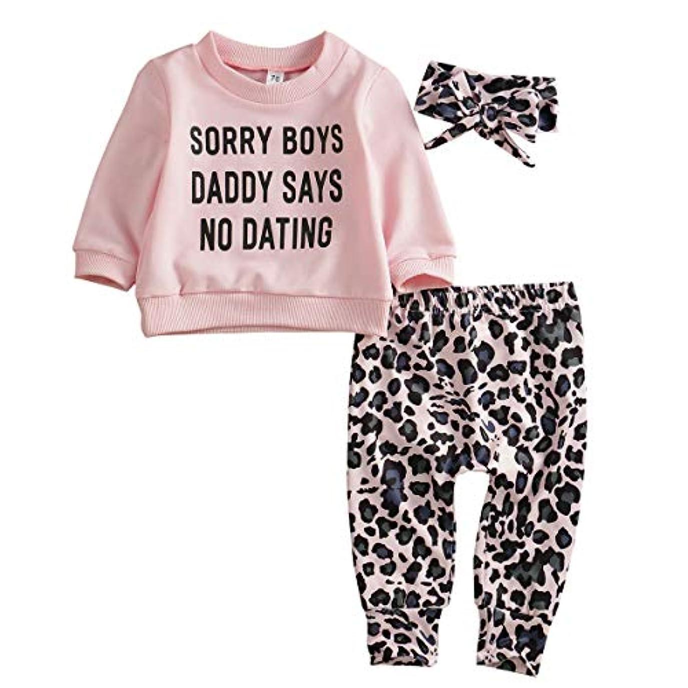略語入手します順応性のある新生児の赤ちゃん女の子長袖トップTシャツ+ヒョウパンツ+ヘッドバンド暖かい秋3個セット