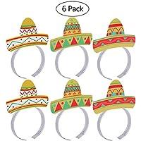 LUoem Cinco De MayoフィエスタパーティーカラフルヘッドバンドMexican Party Hatsフィエスタ楽しいCinco De Mayoパーティーアクセサリー,パックof 6