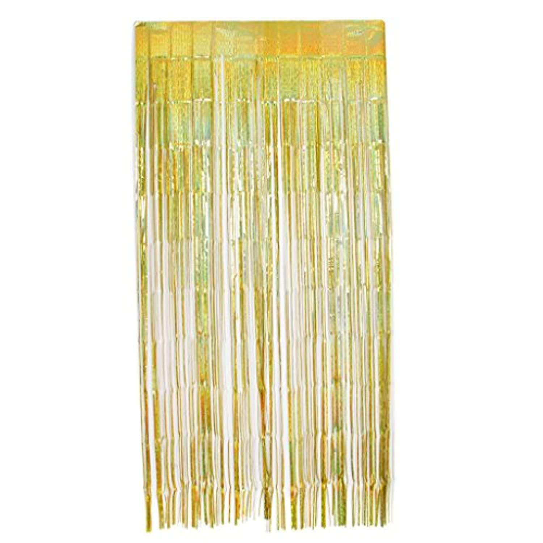 Perfeclan カーテン パーティー 写真の背景 婚礼の装飾 箔 フリンジカーテン 3色選べ - ゴールド