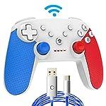 Momen® switchコントローラー プロコン ワイヤレス 無線 Bluetooth 接続 振動 ジャイロセンサー 連射機能 (青+赤+白)