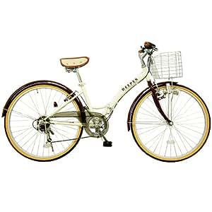 (ディーパー)DEEPER 26インチ シティサイクル 折りたたみ自転車 DE-14 バスケット・ライト・鍵装備 アイボリー×ブラウン