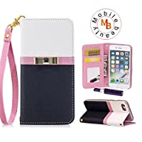 iphone 6 plus/6s plusケース 手帳型【Mobile beauty】高級 PUレザー横開きス タンド機能 財布型カード レンズ カバー アイフォン6/6Sプラス 超薄型 耐摩擦 耐汚れ 全面保護 カバー(ブラック)