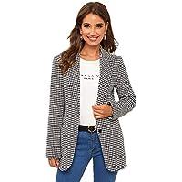 Milumia Women's Open Front Plaid Long Sleeve Gingham Blazer Jacket Outerwear