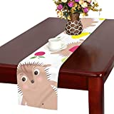 GGSXD テーブルランナー 面白い ハリネズミ クロス 食卓カバー 麻綿製 欧米 おしゃれ 16 Inch X 72 Inch (40cm X 182cm) キッチン ダイニング ホーム デコレーション モダン リビング 洗える