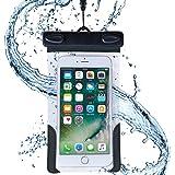 AQUA MARINA 防水ケース iPhone Xperia Galaxy 国際保護等級 IPX8認定 ネックストラップ アームバンド付 水深1m潜水対応 海 プール お風呂 レジャー 旅行 キッチン FREETEL arrows ZenFone 5.5インチ以下全機種対応 WPP-16-049BK
